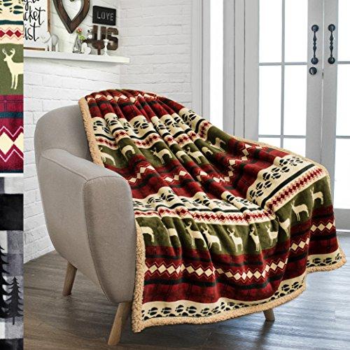 "PAVILIA Premium Plush Sherpa Throw Christmas Blanket   Soft, Warm, Cozy, Reversible Microfiber Fleece Winter Cabin Throw   Holiday Theme Blanket 50"" x 60"" (Red)"