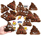 Emoji Poop Pillow Party Favors for 12 - 12 Small Emoji Pillows (5 inch) + 1 Pack of 12 Emoji Stickers Great for Prizes, Decorations