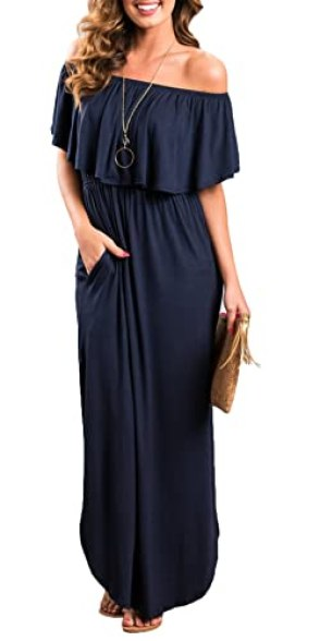 THANTH Off-Shoulder Party Maxi Dress
