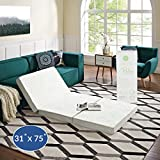 "Modway 4"" Relax Tri-Fold Mattress Topper CertiPUR-US Certified with Soft Removable Cover and Non-Slip Bottom (31' x 75"") - 10-Year Warranty"