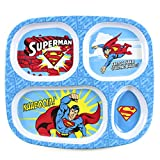 Bumkins DC Comics Superman Divided Plate, Melamine Tray Plate, Toddler, Kids, BPA Free, Stackable, Dishwasher Safe