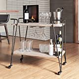 Product review for Metropolitan Dark Bronze Industrial Metal Mobile Bar Cart with Wood Shelves