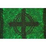 1 World Sarongs Mens Celtic Sarong in Celtic Cross And Circle Green