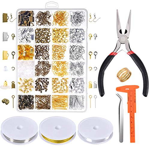 Paxcoo Jewelry Making Supplies Kit - Jewelry Repair Tools with Accessories Jewelry Pliers Findings and Beading Wires for Adult and Beginners