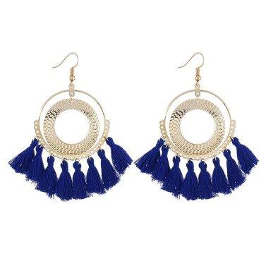 INSANEY Bohemia Fan Shape Tassel Earrings Hoop Dangle Ear Drop (D: Royal Blue)