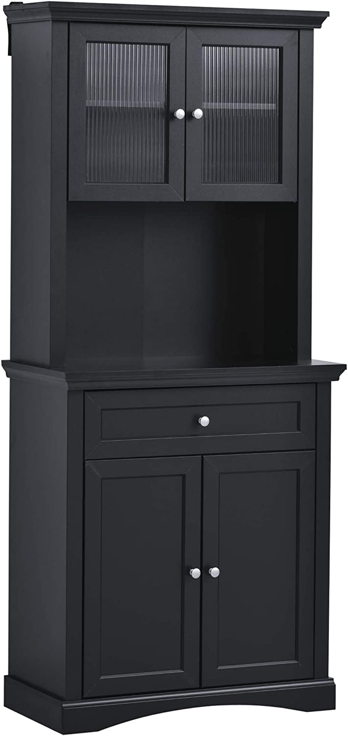 Amazon Com Homcom Traditional Freestanding Kitchen Pantry Cabinet With 4 Doors 3 Level Adjustable Shelves And 1 Drawer Black Furniture Decor