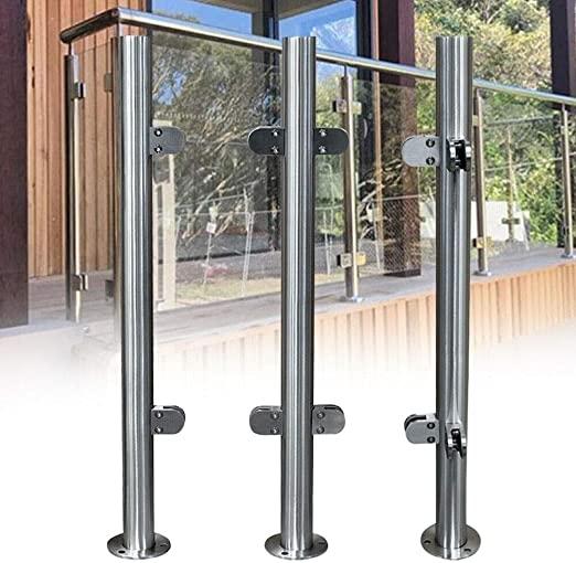 Amazon Com Nopteg 43 Glass Deck Railing System 304 Stainless   Stainless Steel Staircase Railing With Glass   Infill   Custom Glass   Indoor   Panel   Modern