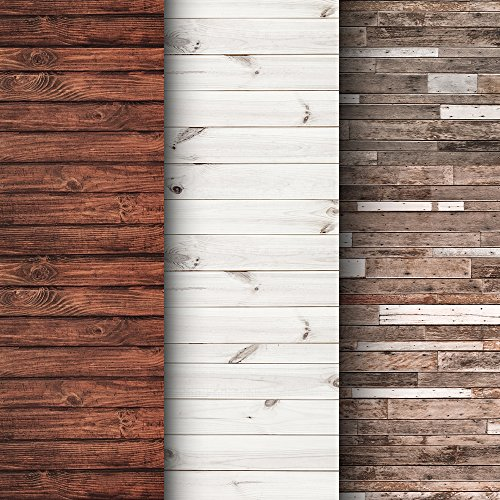 Premium Background Paper For Photography - 3 Pack - 4x12 Foot Rolls - Seamless Designs - Ideal Paper Backdrop For Your Home - Perfect Wood Photography Backdrops for Baby Pictures, Headshots, and More!