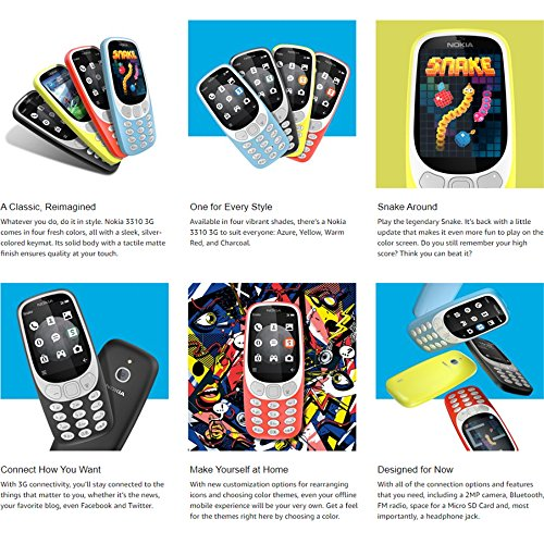 Nokia 3310 3G - Unlocked Feature Phone (AT&T/T-Mobile/MetroPCS/Cricket/H2O)  - 2 4