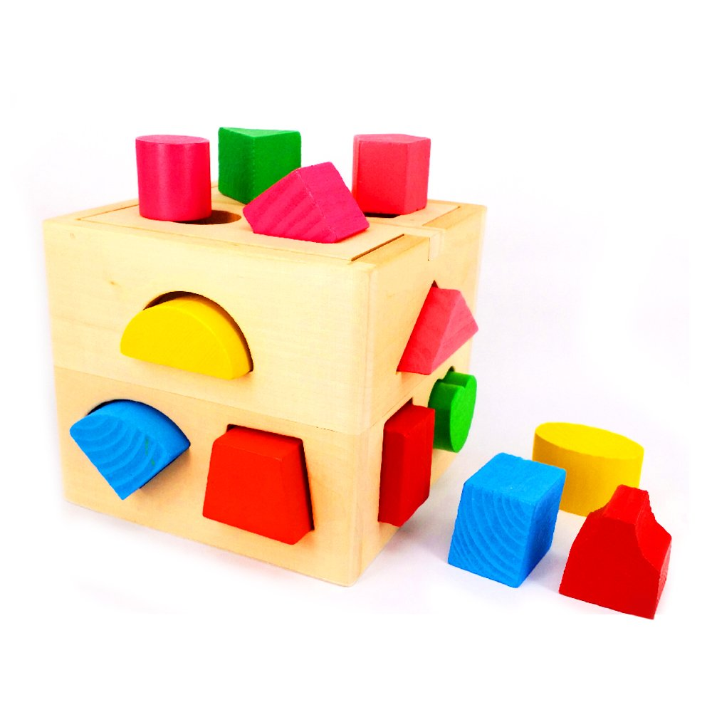 Kiddy Shape Sorter | 13 Holes Non-toxic Wooden Cube Geometric Block Baby Toddler Preschool Educational Toys Color Recognition Match and Stack Puzzle