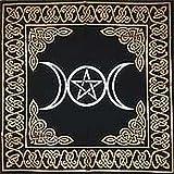 AzureGreen gamuza de Tarot diosa Triple Altar con pentagrama, 60,96 cm x 60,96 cm, oro/plata en negro cinco/Nemesis Now
