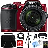 Nikon COOLPIX B500 16MP 40x Optical Zoom Digital Camera 32GB Bundle Includes Camera, Bag, 32GB Memory Card, Reader, Wallet, AA Batteries + Charger, HDMI Cable, Tripod, Beach Camera Cloth and More
