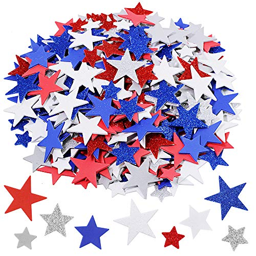 Assorted Patriotic Star Stickers Bulk 392 Pcs 3 Sizes Glitter & Matte Red Blue Silver White Grey Star Foam Stickers Self Adhesive Patriotic Star Shapes Cutouts 1' 1.5' 2' for 4th of July Décor Crafts