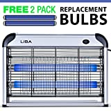 Bug Zapper Electric Indoor Insect Killer Mosquito, Bug, Fly Killer - Powerful 2800V Grid 20W Bulbs - 2-Pack Replacement Bulbs Included