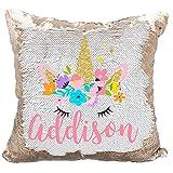 Personalized Mermaid Reversible Sequin Pillow, Custom Unicorn Sequin Pillow for Girls (White/Rose Gold)