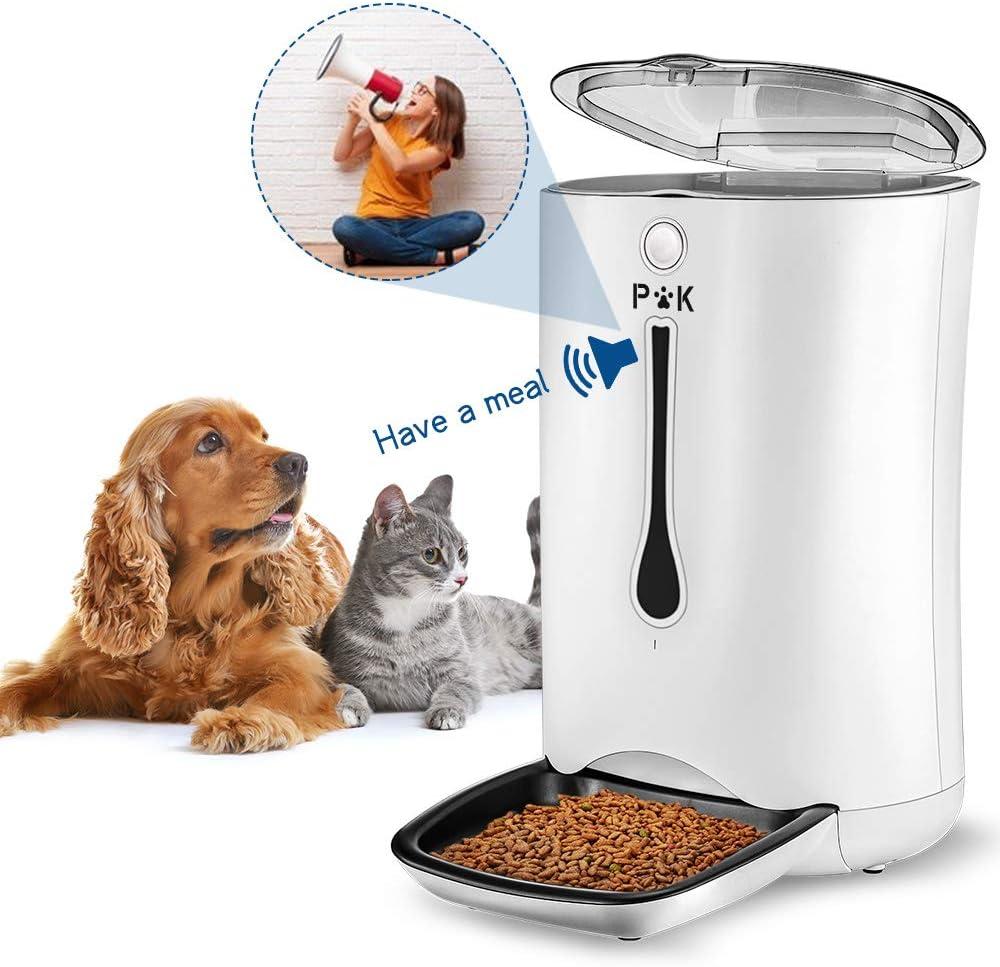 PUTTY KITTY 6.5-7L Comedero Automático de Gran Capacidad para Perro y Gato, 10s Grabación de Voz, Dispensador Inteligente de 4 Comidas, Lo Mejor para Viajes de Vacaciones Blanco (Manual de España)