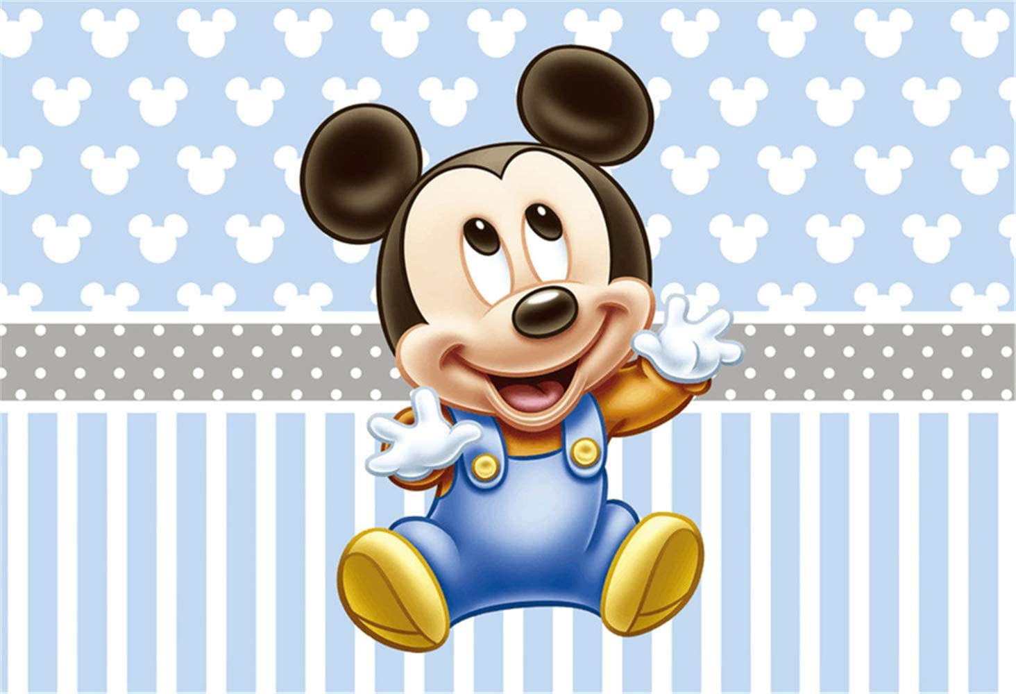 Amazon Com Mickey Mouse Step And Repeat Background 7x5 Light Blue Photo Backdrop For Boy 1st Birthday Party Grey Banner Customized Kids Studio Backgrounds Props Camera Photo