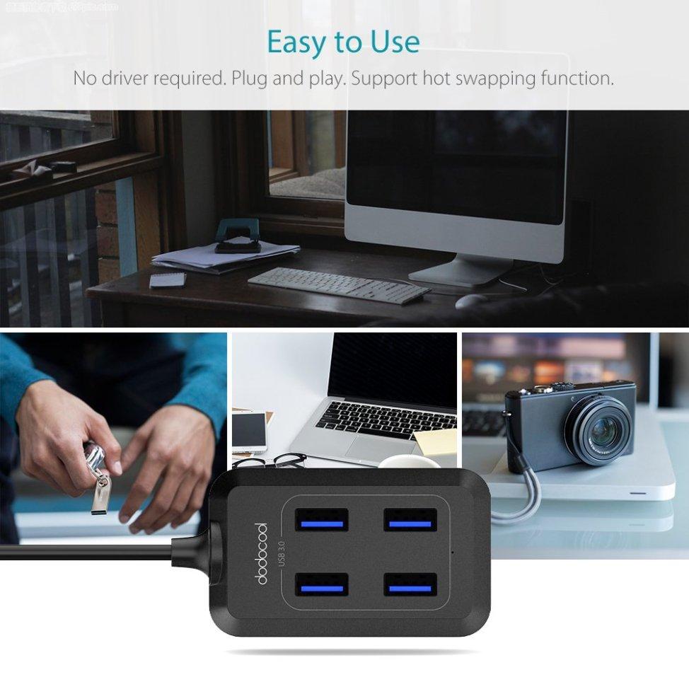 dodocool USB3.0 高速ハブ 4ポート USB 3.0 Hub(1m) バスパワー 77 x 61x 30mm USB1.1/2.0互換 デスクトップ Ultrabook 5Gbps ポータブル対応