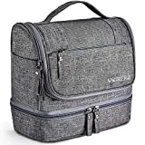 Toiletry Bag, VAGREEZ Hanging Travel Toiletry Organizer Kit with Hook and Handle Waterproof Cosmetic Bag Dop Kit for Men or Women (Grey)