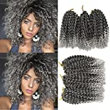 Flyteng marlibob crochet hair 6pieces/pack 8 inch Marlibob Kinky Curly synthetic Hair extensions (8 inch 6packs, T1B/Gray)
