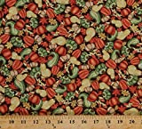 Cotton Pumpkins Squash Gourds Vegetables Leaves Fall Autumn Veggies Food Thanksgiving Decorations Happy Harvest Brown Cotton Fabric Print by The Yard (4277-23332-RED1)
