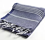 Cacala 100% Cotton Pestemal Turkish Bath Towel, 37 x 70, Dark Blue