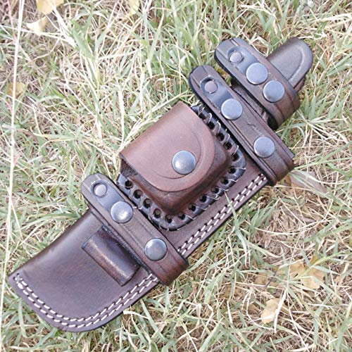 Ottoza Custom Handmade XL Dark Brown Right Hand Leather Knife Sheath for Tracker Knife- Bushcraft Knife - Hunting Knife - Survival Knife -Fixed Blade Knives Horizontal Scout/Cow-Buffalo Leather No:156