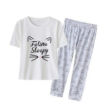 YIJIU Women's Sleepy Cat Print Sleepwear Short Sleeve Tee and Pants Pajama Set