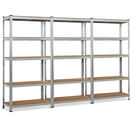 Amazon Com Yaheetech 3 Pack Heavy Duty 5 Shelf Commercial Industrial Office Storage Rack Garage Shelving Unit Adjustable Boltless Steel Display Stand