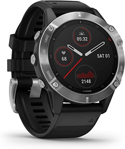 Garmin Fenix 6, Premium Multisport GPS Watch, Heat and Altitude Adjusted V02 Max, Pulse Ox Sensors and Training Load Focus, Silver with Black Band