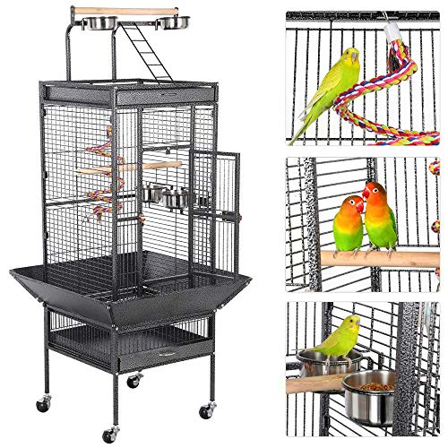 Yaheetech Wrought Iron Select Large Bird Cages for Parrots Cockatiels Parakeets Conure Lovebirds Budgies Finches Play Top Bird Cage with Stand, Black