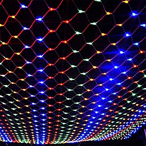 DOCHEER Colorful LED Fairy Mesh Net Lights Curtain Light, 9.84ft × 6.56ft,204 String LEDs, 8 Modes Decorative Lighting for Thanksgiving, Christmas, Holiday, Party, Event, Multicolor