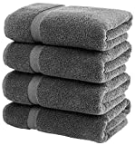 White Classic Luxury Grey Bath Towels Large - Circlet Egyptian Cotton   Highly Absorbent Hotel spa Collection Gray Bathroom Towel   27x54 Inch   Set of 4