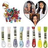 HairPhocas 8 Colors Magic Hair Strings Box Braids Hair Deco Styling Hair Braid Accessories with Dreadlock Beads Micro Rings