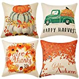 WLNUI Set of 4 Pillow Covers,Fall Cotton Linen Throw Pillow Covers,Maple Leaf Autumn Theme Decor Pillow Cushion Cases for Sofa, Couch, Bed and Car, 18x18 Inch 45x45 cm (Happy Harvest)