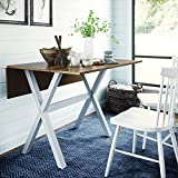 Nathan James 41002 Kalos Solid Wood Drop Leaf Folding Kitchen Dining or Rustic Console Table, Brown/White