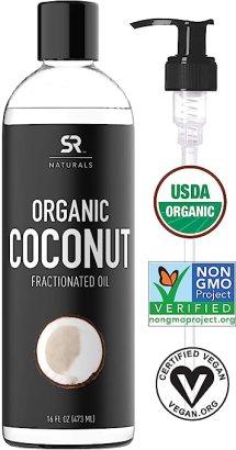 Organic Fractionated Coconut Oil by SR Naturals ~ 100% Pure Multi-Purpose Oil ~ Organic Certified & Non-GMO Verified (16oz)
