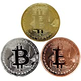 Bitcoin Coins, Set of 3 - Gold, Silver, and Bronze Physical Blockchain Cryptocurrency in Protective Collectable Gift Case