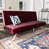 Product review for DHP Emily Futon Sofa Bed, Modern Convertible Couch with Chrome Legs Quickly Converts into a Bed, Rich Burgundy Velvet