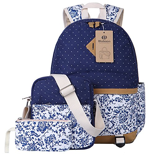 BLUBOON Canvas Backpack Girls School Bags Set for Teens, Bookbags + Shoulder bag + Pouch 3 in 1