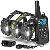 F-color Dog Training Collar, Upgraded 2600FT Dog Shock Collar for Large Medium Small Dogs Breed, with 4 Modes Light Beep Vibration Shock, Waterproof and Rechargeable Shock Collar for 3 Dogs