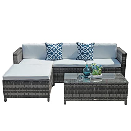 Outdoor Patio Furniture Set Pc Pe Wicker Rattan Sectional Furniture Set With Cream White Seat