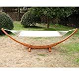 Outsunny Cypress Wood and Cotton Fabric Double Wide Outdoor Hammock with Stand
