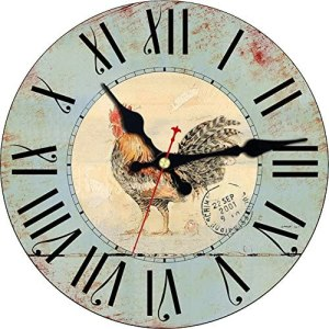 MEISTAR Simple Wooden 12 Inch Kitchen,Living Room,Bedroom and Dining Room Decor Wall Clocks,Antique Roman Numerals Rooster Design Quartz Wall Clocks