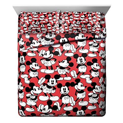Jay Franco Disney Mickey Mouse Funny Faces Red 4 Piece Queen Sheet Set,
