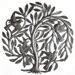 Small Leaving The Nest Tree, Metal Wall Hanging Art, Haitian Decorative Plaque, Indoor and Outdoor, Fair Trade 15 x 15 Inches (Leaving The Nest Tree of Life)