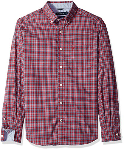 61LKHh5VZbL Wrinkle-resistant finish and a plaid pattern Button-front styling with a buttoned collar Long sleeves with adjustable double-button cuffs