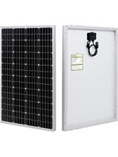 HQST 100 Watt Monocrystalline 12V Solar Panel with Solar Connectors High Efficiency Module PV Power for Battery Charging Boat, Caravan, RV and Any Other Off Grid Applications