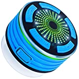 Bluetooth Speaker with FM Radio, DLAND IPX7 Waterproof Shower Radios with LED Mood Lights, USB Rechargeable. (Blue and Black)