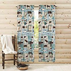 lake fishing teal blue curtains